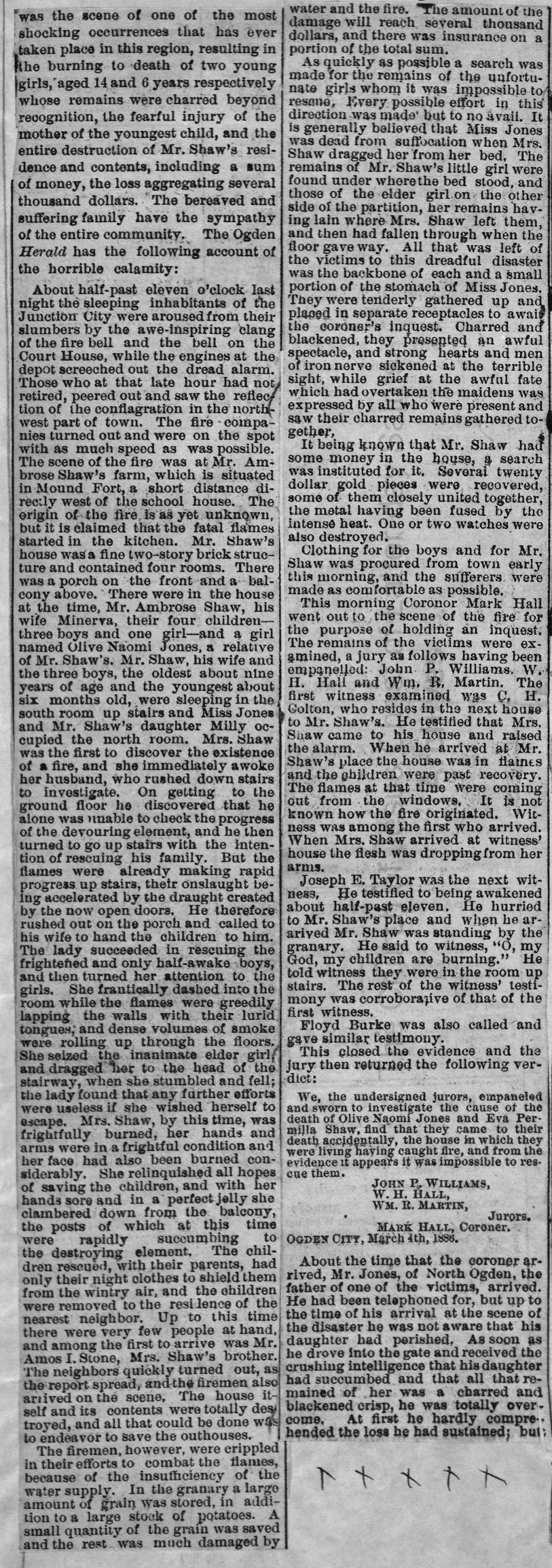 1886 Desseret News account of fire at Ambrose Shaw home